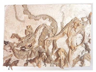 <b>Sans Titre</b> (1956)<br/><i>Collage de dentelle sur plâtre, technique mixte</i>