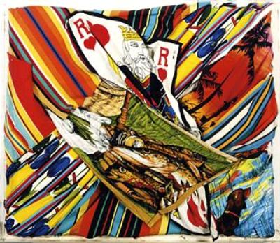 <b>Roi de coeur Rebelote et Bayadère</b> (1963)<br/><i>Assemblage de tissus imprimés</i>