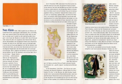 Yves Klein, Stiftung Ahlers Pro Arte/Kestner Pro arte, Hannovre, 2006