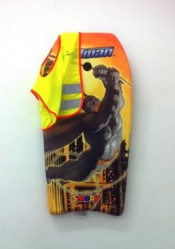 <b>Batman</b><br/><i>Planche à vague et gilet jaune de sécurité 85 x 46 cm, Polystyrène et textile</i>