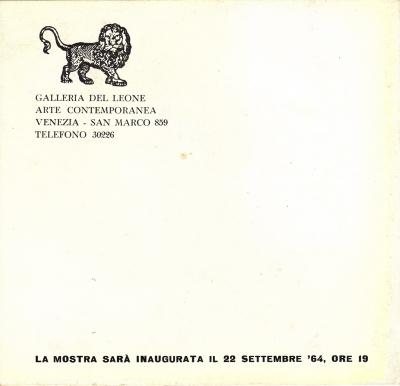 Galleria del Leone, Venise, 1964