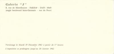 Nouvelles aventures de l'objet, Galeries J, Paris, 1961